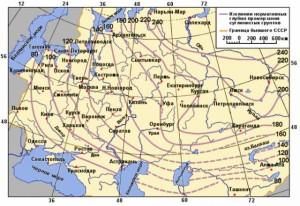 Карта с указанными глубинами промерзания грунтов