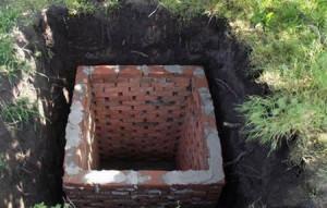 Квадратная яма из кирпича