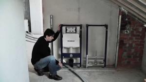 Монтаж инсталляции производится в несколько этапов: разметка, подготовка крепежной системы, установка инсталляции, подведение канализации, установка чаши унитаза
