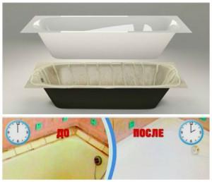 Акриловая вкладка не уменьшает размер ванны