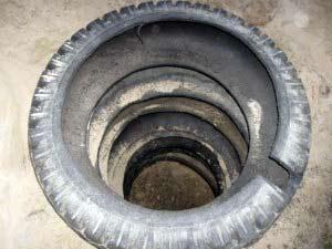 Как сооружается выгребная яма из покрышек