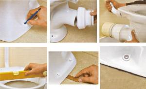 Крепление чаши унитаза к полу с помощью дюбелей- самый распространенный способ