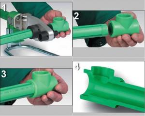 Для соединения фитингов и отрезков труб используется паяльник